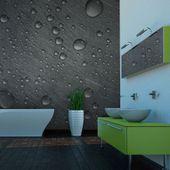 Fototapeta - stalowa powierzchnia z kroplami wody Rozmiar - 400x309