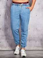 Jeansy męskie z troczkami XL