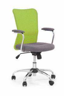 Fotel do biurka ANDY młodzieżowy szary/limonkowy