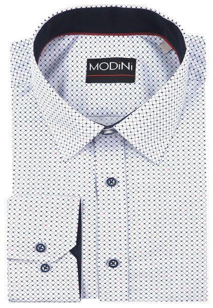 725d4d09bf32d6 Biała koszula męska w drobną kratkę i kropki A23 Rozmiar koszuli i fason -  188-