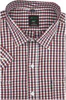 Duża Koszula Męska Laviino czerwona w kratkę na krótki rękaw duże rozmiary K923 7XL 51 182/188