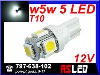 żarówka LED T10 5 SMD w5w w3w biala zimna 12v EKO