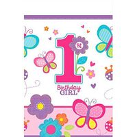 Obrus foliowy na 1 urodziny Dziewczynka motylki