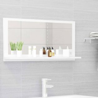 Lumarko Lustro łazienkowe, białe, wysoki połysk, 80x10,5x37 cm, płyta