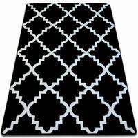 Dywan SKETCH - F343 czarno/biały koniczyna marokańska trellis 140x190 cm czarny