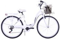 Rower miejski 28 Kozbike City 6s (biegów) biały z koszem