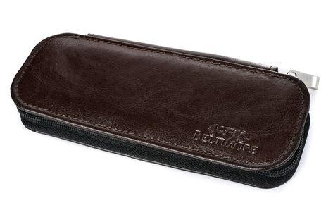 ETUI skórzane piórnik na długopisy płaskie J002 ciemne brązowe