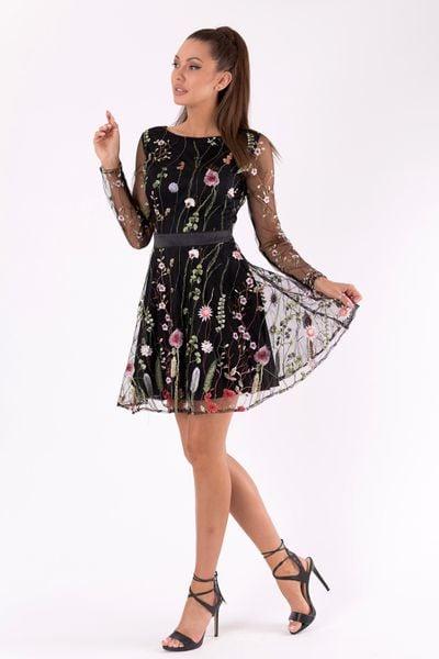 ee96c34820 Sukienka w kwiaty z długim rękawem z siateczki - czarna Rozmiar - S zdjęcie  2