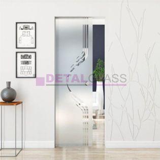 drzwi szklane przesuwne chowane w ścianę skrzydło wzór matowy W15