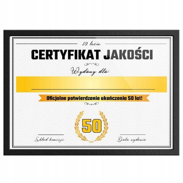 Śmieszny PREZENT na 50tkę, 50 urodziny, Certyfikat na Prezent zdjęcie 2