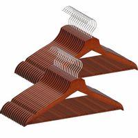 Wieszaki na ubrania 30 szt. drewniane zestaw brązowy