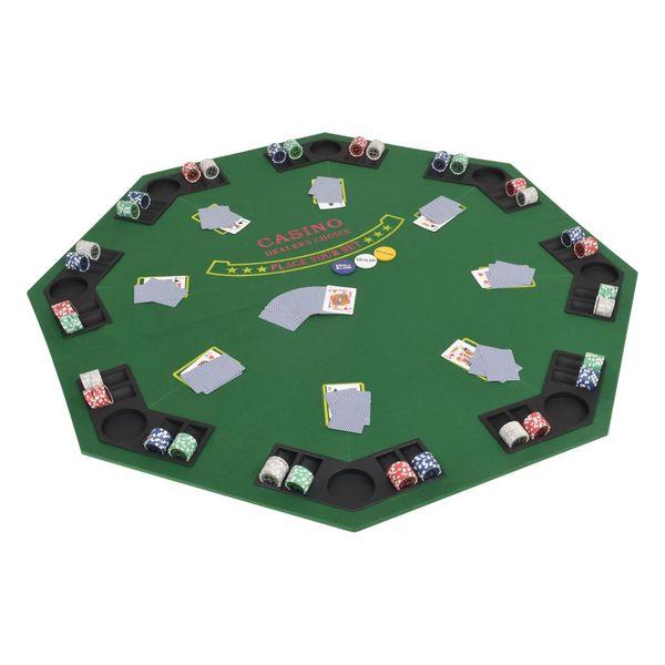 Składany blat do pokera dla 8 graczy, ośmiokątny, zielony zdjęcie 1