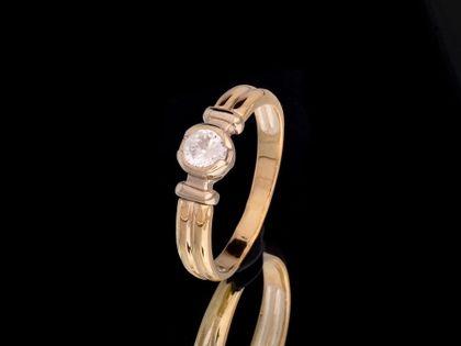 P489 Złoty pierścionek z cyrkonią 585 /Jubi