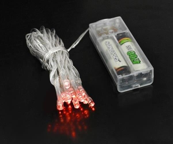 Lampki 10 LED na baterie - czerwony zdjęcie 24