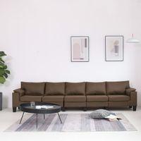 5-osobowa sofa, brązowa, tapicerowana tkaniną