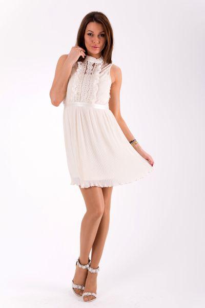 b578547fe6 Kremowa sukienka z falbankami i koronką Rozmiar - L • Arena.pl