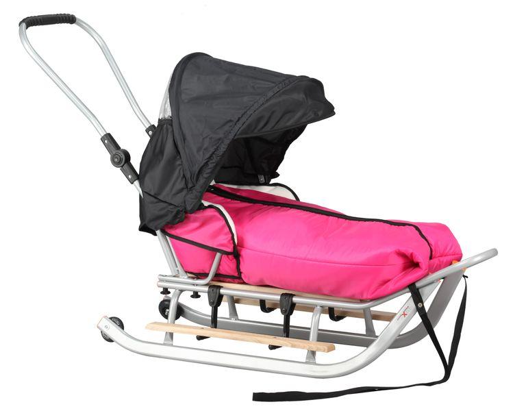SANKI dla dzieci z budką, śpiworem, popychaczem, podnóżki + kółka zdjęcie 2