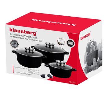 Zestaw 3 Garnków Granitowych 2.5L/ 4.3L/6.8L (8 Ele.) Klausberg Crack Design Kb-7359