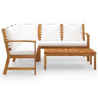 Lumarko 4-cz. zestaw wypoczynkowy do ogrodu, poduszki, drewno akacjowe;