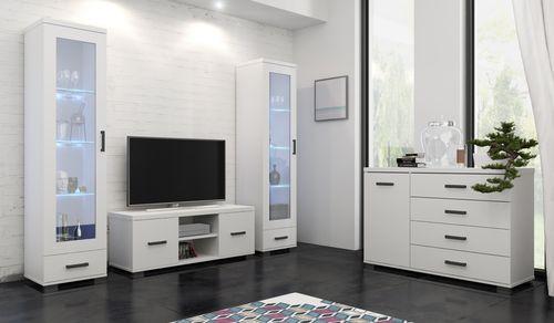Duża komoda biała 120 cm cztery szuflady nowoczesna komoda do salonu na Arena.pl