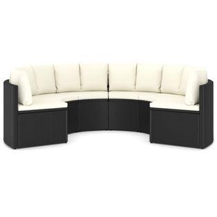 Lumarko 6-częściowa sofa ogrodowa z poduszkami, rattan PE, czarna;