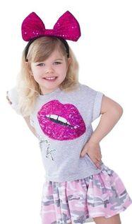 Szara Tunika dla dziewczynki cekinowe usta od MałaMi 98/104