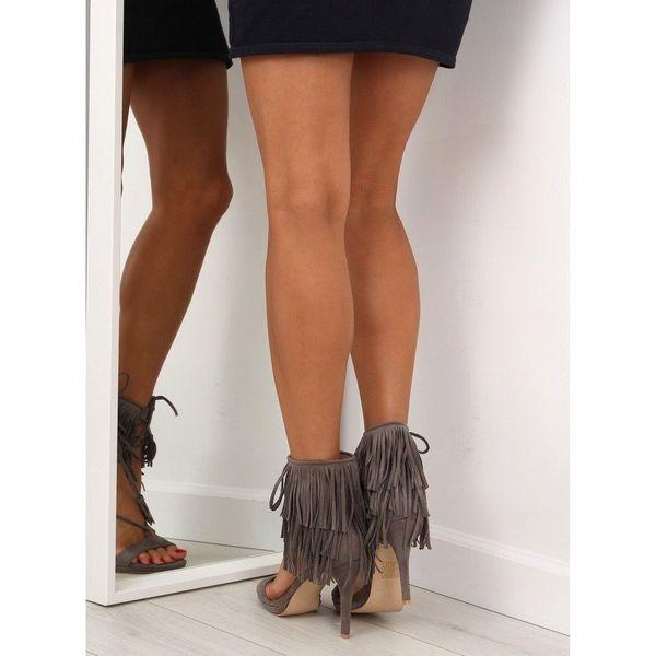 Sandałki na obcasie z frędzlami 8125 Grey r.36 zdjęcie 2