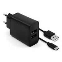 Ładowarka sieciowa FIXED 2xUSB, 15W Smart Rapid Charge + USB-C kabel 1m (FIXC15-2UC-BK) Czarna
