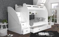 Łóżko piętrowe ZUZIA 257x130 + materace + szuflada + schodki