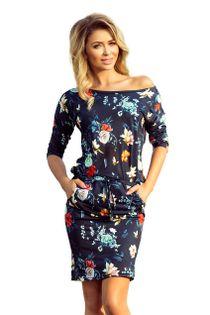 Sukienka w kwiaty - Granatowy L