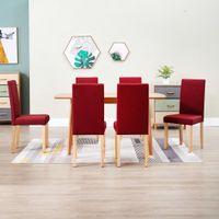 Krzesła do jadalni 6 szt. czerwone wino tapicerowane tkaniną VidaXL