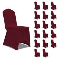 Elastyczne pokrowce na krzesła, burgundowe, 18 szt.