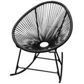 Ogrodowy fotel bujany z polirattanu, czarny