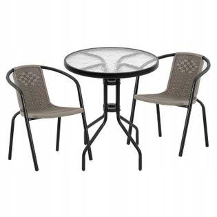 Zestaw Mebli Ogrodowych Stolik + 2x Krzesło Patio Komplet