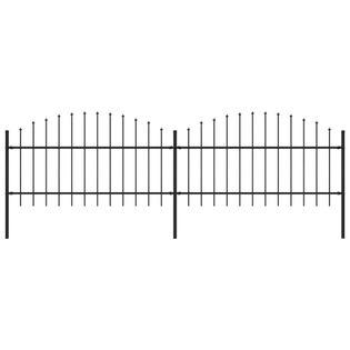 Panele ogrodzeniowe z grotami stal (1-1.25)x3.4m czarne VidaXL