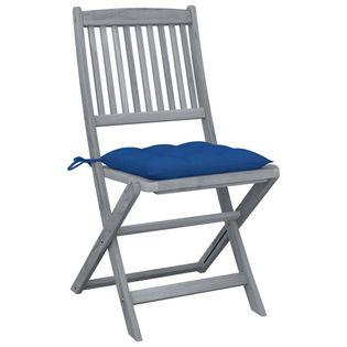 Lumarko Składane krzesła ogrodowe, 4 szt., poduszki, drewno akacjowe