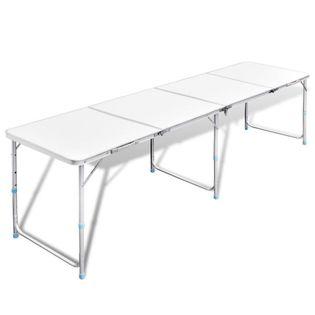 Składany, Aluminiowy Stół Kempingowy Z Regulacją Wysokości 240 X 60 Cm
