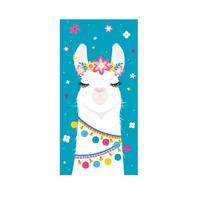 Ręcznik dla dziecka 70x140 cm Lama Turkus