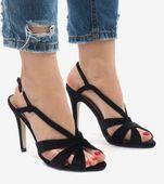 Czarne zamszowe sandały szpilki 9095-138 37 zdjęcie 3