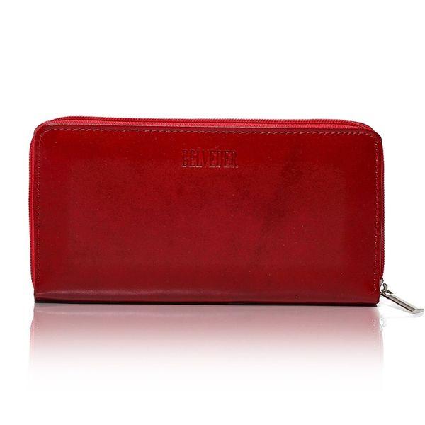Czerwony damski portfel skóra naturalna BELVEDER w pudełku zdjęcie 3