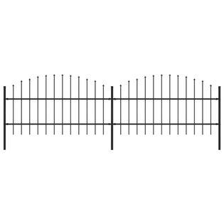 Panele ogrodzeniowe z grotami stal (0.75-1)x3.4m czarne VidaXL