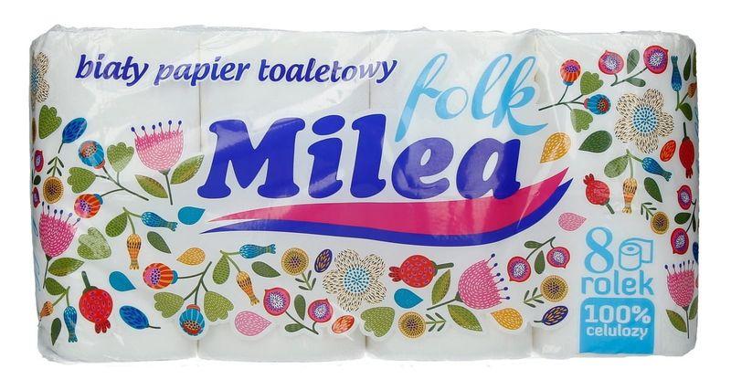 Milea  Folk   Papier Toaletowy Biały  - 8 Rolek na Arena.pl