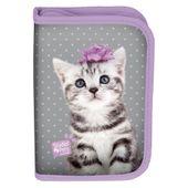 Piórnik jednokomorowy dwuklapkowy Paso, kotek z kokardką