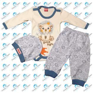 NOWY Komplet niemowlęcy body spodenki czapeczka N043 LEW NIEBIESKI 74