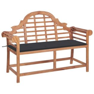 Lumarko Ławka ogrodowa z antracytową poduszką, 120 cm, drewno tekowe!