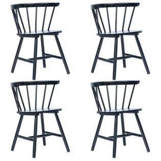 Krzesła Jadalniane, 4 Szt., Czarne, Lite Drewno Kauczukowca