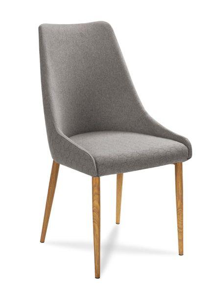 Krzesło OLIVIER LUIS pikowane SZARY / DĘBOWE nogi na Arena.pl