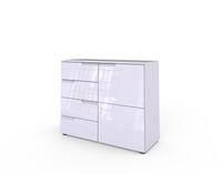 SELENE 05 biała komoda z szufladami i drzwiami połysk