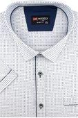 Duża Koszula Męska Modely biała we wzorki na krótki rękaw Duże rozmiary K820 6XL 50 182/188 zdjęcie 1