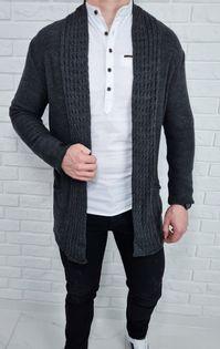Szary dlugi sweter kardigan kieszenie 2583 - S